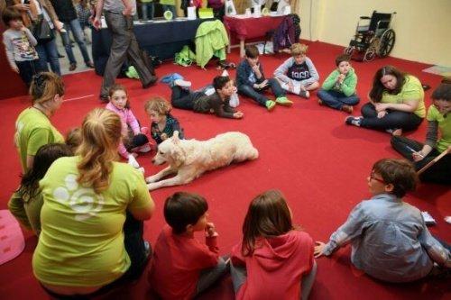 çocuklarla oturan köpek