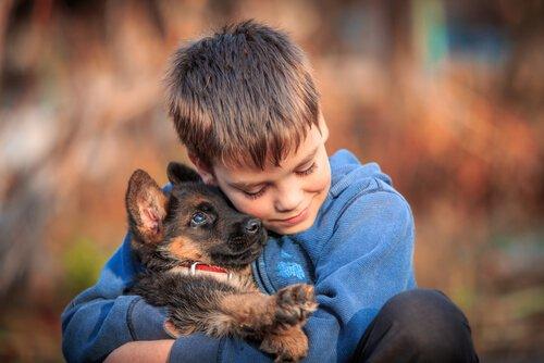 köpeğine sarılan çocuk