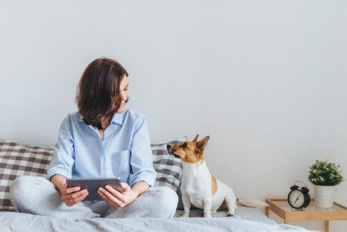 sahibi ve köpeği yatakta