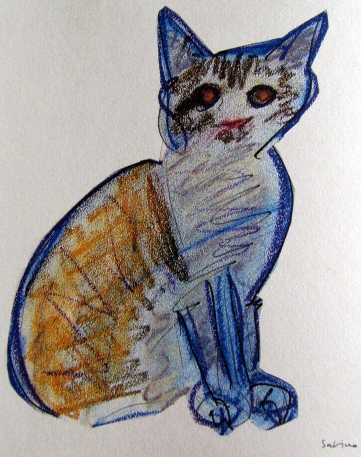Joaquín Sabina ve kedi çizimi