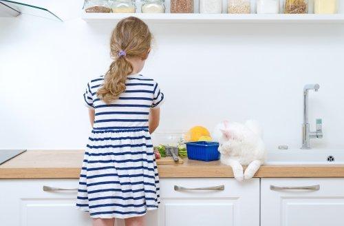 ev yapımı kedi maması hazırlayan kız