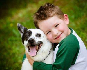 köpek ve çocuk gülüyor