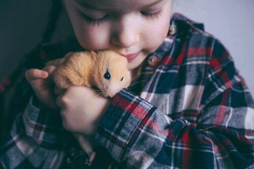 hamster tutan çocuk