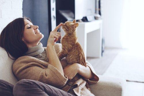kedisiyle oynayan kadın