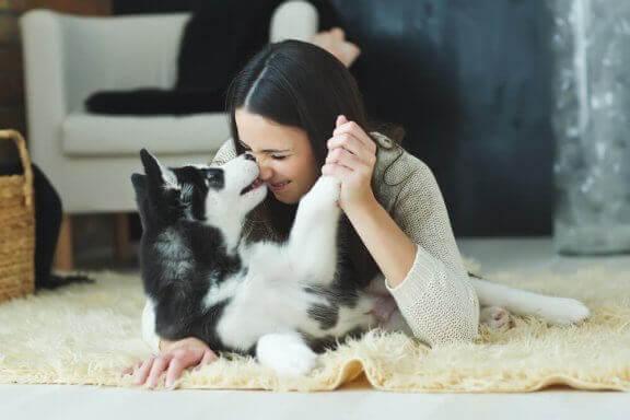 köpeği ile oyun oynayan kadın