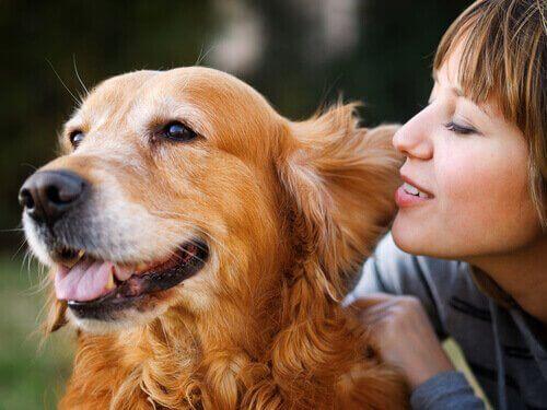 köpeğiniz kulağına fısıldayan kadın