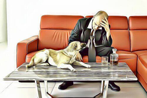 ayrılık sonrası üzgün adam ve köpeği