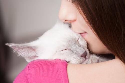Sarılarak kedinizle uyumanız