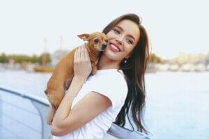 Chihuahua köpeğiyle poz veren kadın