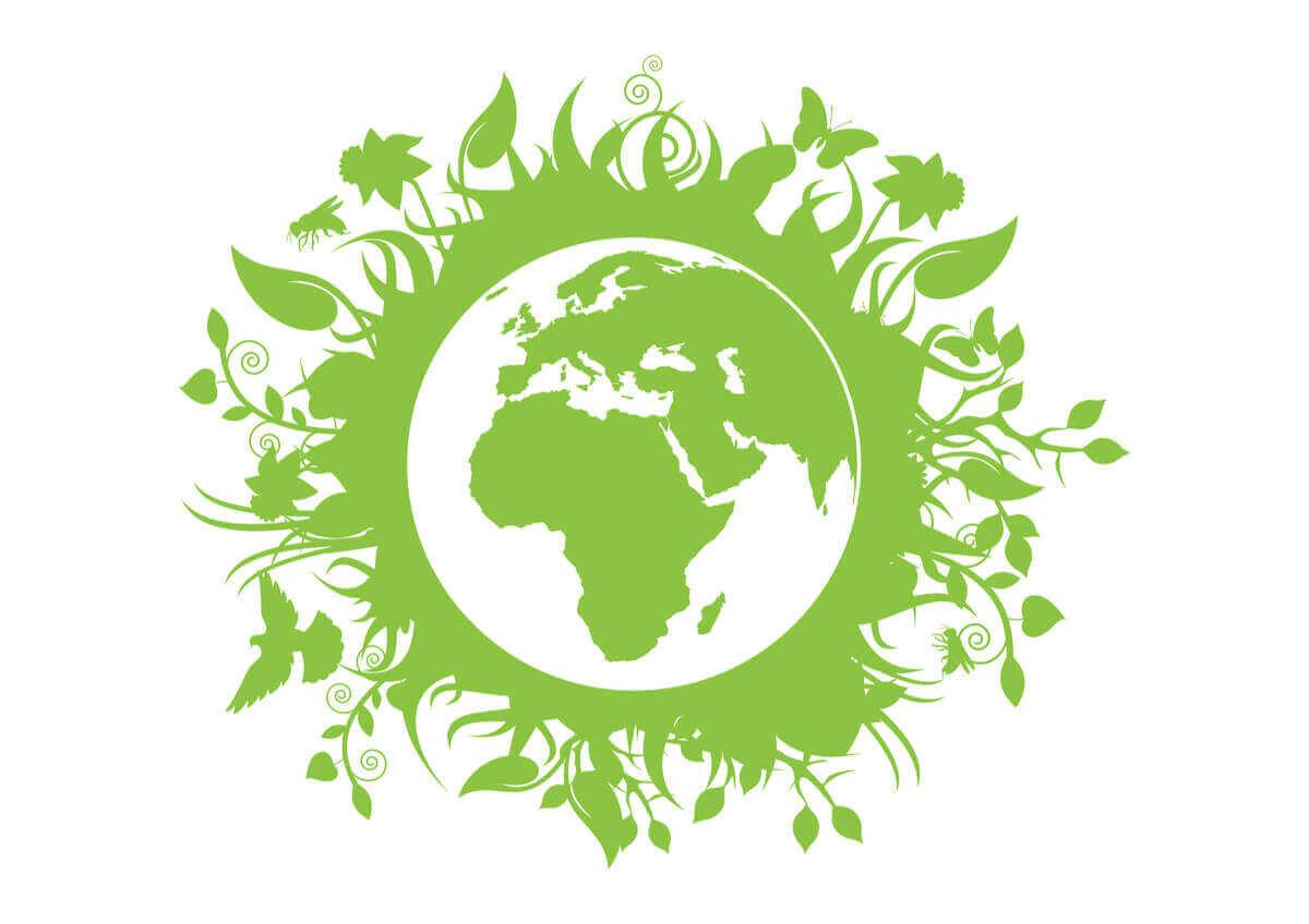 Üstünde yeşil bitkiler olan dünya görseli