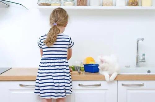 mutfakta çalışan kız ve tezgahta oturan kedi